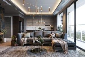 thiết kế căn hộ chung cư 3 phòng ngủ - phòng khách bếp 5