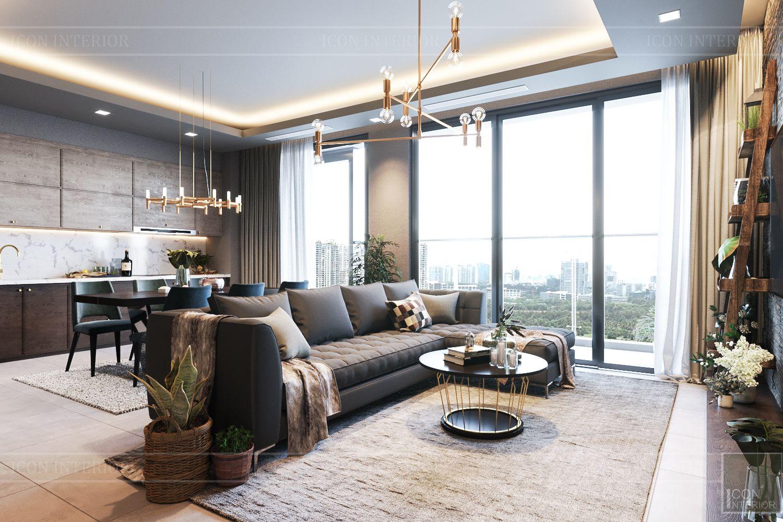 thiết kế căn hộ chung cư 3 phòng ngủ - phòng khách bếp 3