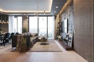 thiết kế căn hộ chung cư 3 phòng ngủ - phòng khách bếp 4