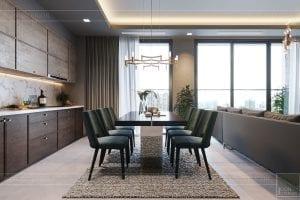 thiết kế căn hộ chung cư 3 phòng ngủ - phòng khách bếp 7