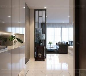 thiết kế căn hộ de capella - phòng khách bếp 1