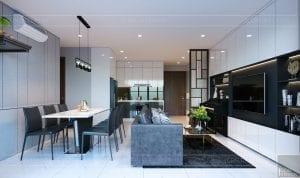 thiết kế căn hộ de capella - phòng khách bếp 10