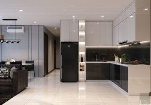 thiết kế căn hộ de capella - phòng khách bếp 2