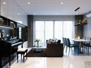 thiết kế căn hộ de capella - phòng khách bếp 4