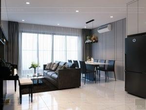 thiết kế căn hộ de capella - phòng khách bếp 3
