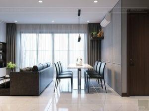 thiết kế căn hộ de capella - phòng khách bếp 5