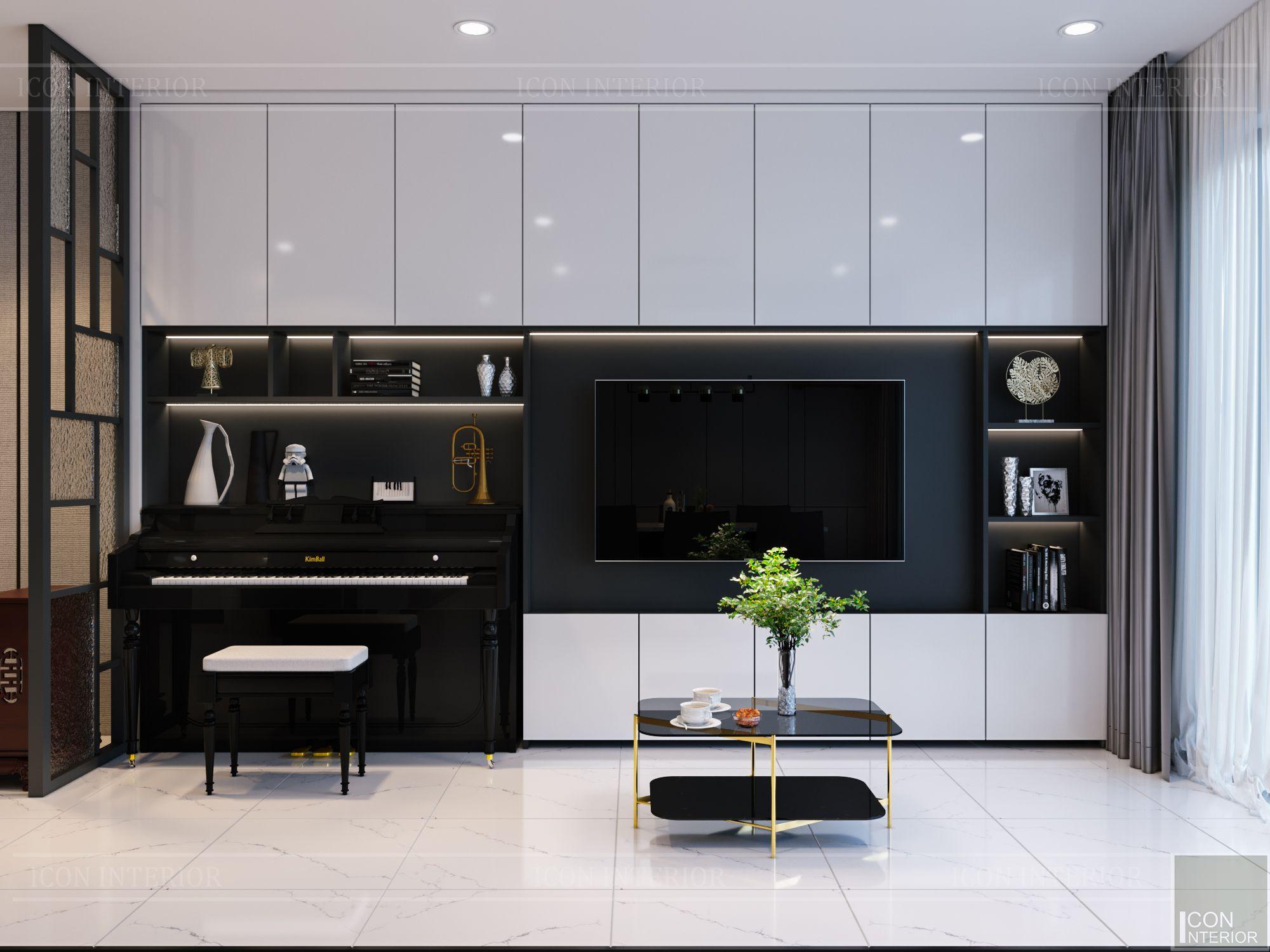 thiết kế căn hộ de capella - phòng khách bếp 6