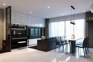 thiết kế căn hộ de capella - phòng khách bếp 8