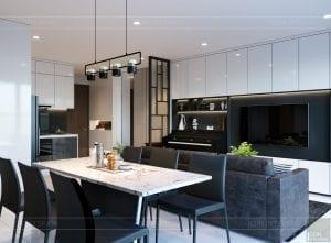 thiết kế căn hộ de capella - phòng khách bếp 9