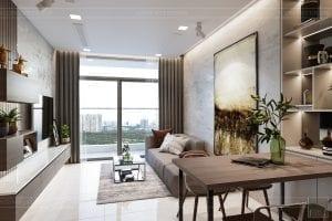thiết kế nội thất căn hộ hiện đại - phòng khách bếp 3
