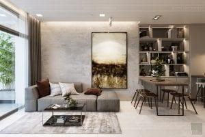 thiết kế nội thất căn hộ hiện đại - phòng khách 1