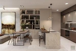 thiết kế nội thất căn hộ hiện đại - phòng ăn