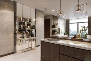 thiết kế nội thất căn hộ hiện đại - phòng khách bếp 2