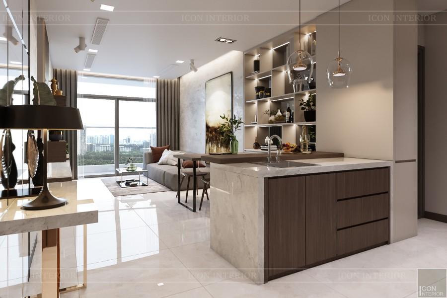 thiết kế nội thất căn hộ hiện đại - phòng khách bếp 1