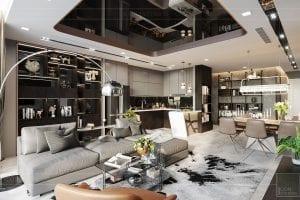 thiết kế nội thất căn hộ vinhomes ba son - phòng khách 3