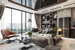 thiết kế nội thất căn hộ vinhomes ba son - phòng khách 4