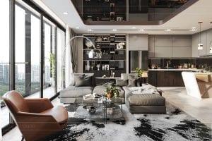 thiết kế nội thất căn hộ vinhomes ba son - phòng khách 6