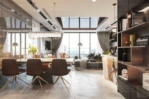 thiết kế nội thất căn hộ vinhomes ba son - phòng khách bếp 7