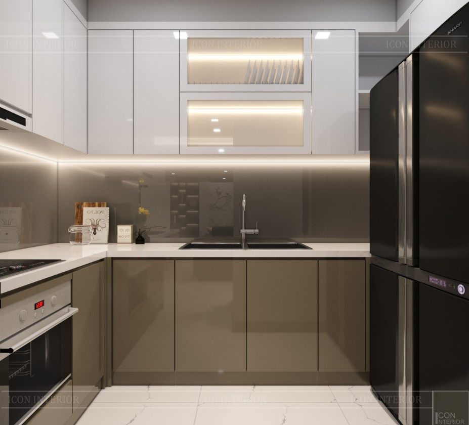 thiết kế căn hộ chung cư landmark 81 - phòng khách bếp 10