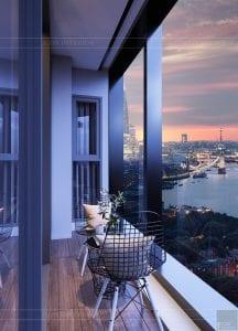 thiết kế căn hộ chung cư landmark 81 - ban công
