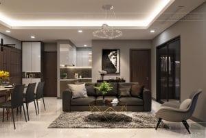 thiết kế căn hộ chung cư landmark 81 - phòng khách bếp 2