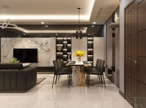 thiết kế căn hộ chung cư landmark 81 - phòng khách bếp 3