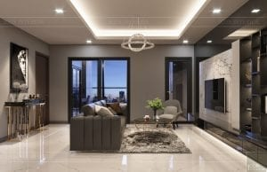 thiết kế căn hộ chung cư landmark 81 - phòng khách bếp 4