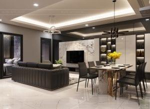 thiết kế căn hộ chung cư landmark 81 - phòng khách bếp 5