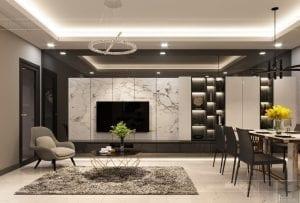 thiết kế căn hộ chung cư landmark 81 - phòng khách bếp 6