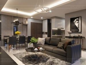 thiết kế căn hộ chung cư landmark 81 - phòng khách bếp 7