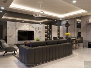 thiết kế căn hộ chung cư landmark 81 - phòng khách bếp 8