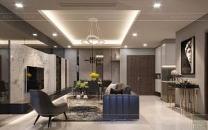 thiết kế căn hộ chung cư landmark 81 - phòng khách bếp 9