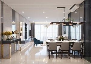 căn hộ estella heights - phòng khách bếp 2