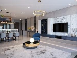 căn hộ estella heights - phòng khách bếp 10
