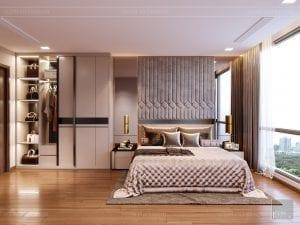 Thiết kế nội thất căn hộ Park 1 Vinhomes Central Park - phòng ngủ master 2