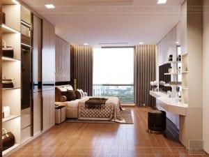 Thiết kế nội thất căn hộ Park 1 Vinhomes Central Park - phòng ngủ master 1