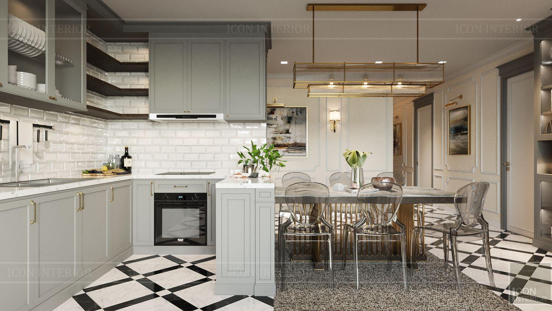 Thiết kế nội thất nhà chung cư 100m2 Vinhomes Bason phòng bếp