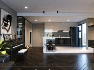 chung cư estella heights quận 2 - phòng khách bếp 7