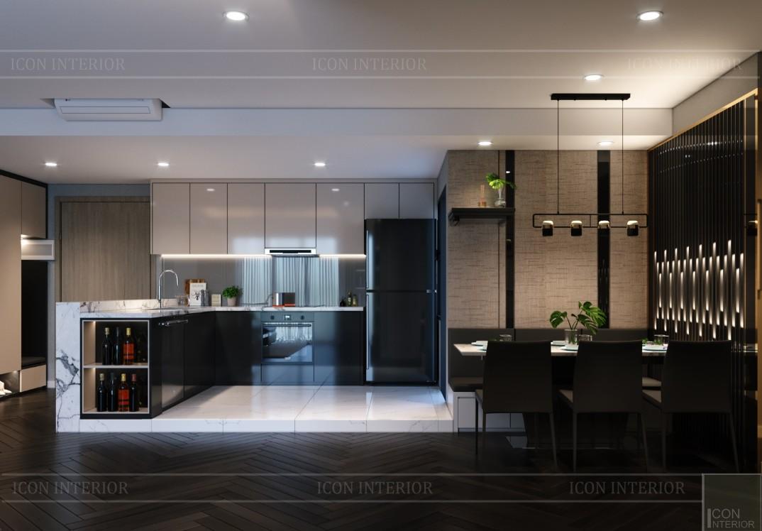 Thiết kế chung cư 70m2 đẹp Estella Heights quận 2 - phòng bếp