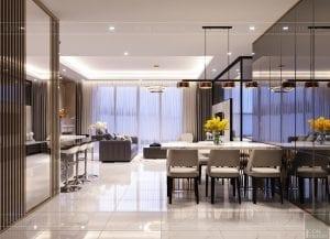 thiết kế nội thất hiện đại - phòng khách bếp 1