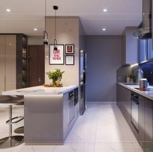 thiết kế nội thất hiện đại - phòng khách bếp 9