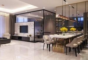 thiết kế nội thất hiện đại - phòng khách bếp 2