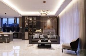 thiết kế nội thất hiện đại - phòng khách bếp 4