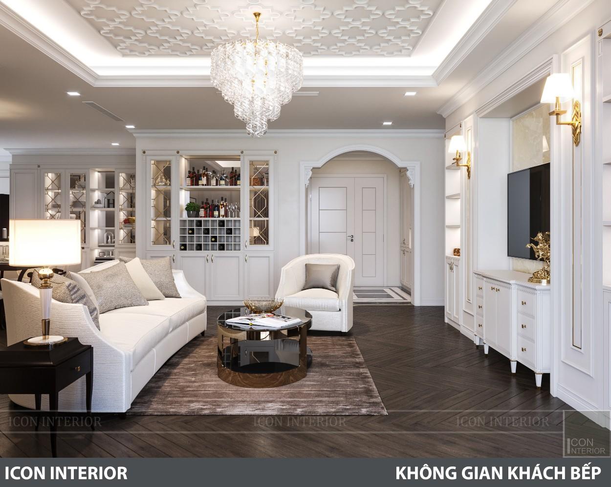 phong cách nội thất tân cổ điển pháp - phòng khách bếp 8