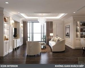 phong cách nội thất tân cổ điển pháp - phòng khách bếp 3