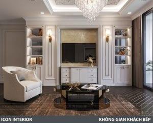 phong cách nội thất tân cổ điển pháp - phòng khách bếp 6
