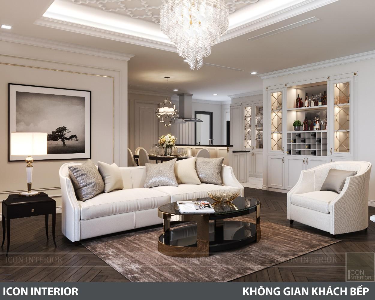 phong cách nội thất tân cổ điển pháp - phòng khách bếp 7