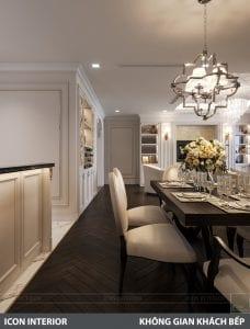 phong cách nội thất tân cổ điển pháp - phòng khách bếp 9