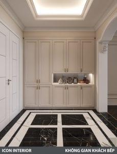 phong cách nội thất tân cổ điển pháp - phòng khách bếp 2