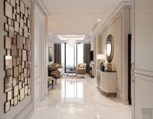 thiết kế sky villa landmark 81 - phòng khách bếp 1
